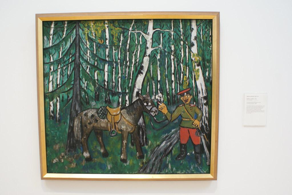 """""""A soldier in the wood"""" (1911) de l'artiste Mikhael Larionov au musée d'art moderne d'Edimbourg."""