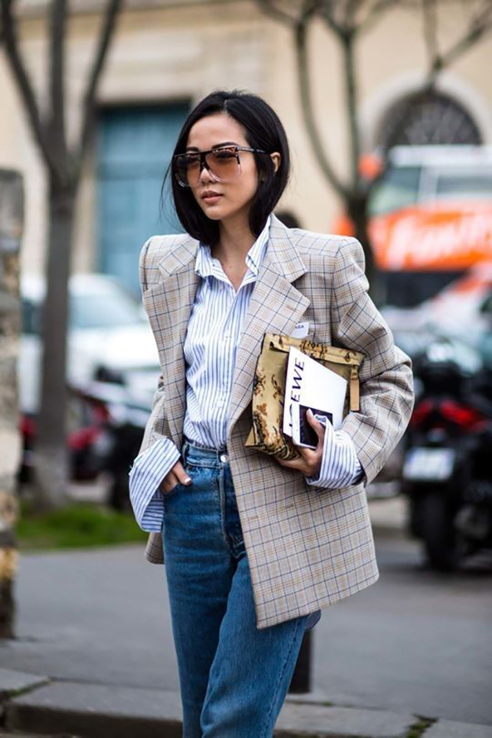 plaid blazer street style trend style outfit 2017 accessories denim5