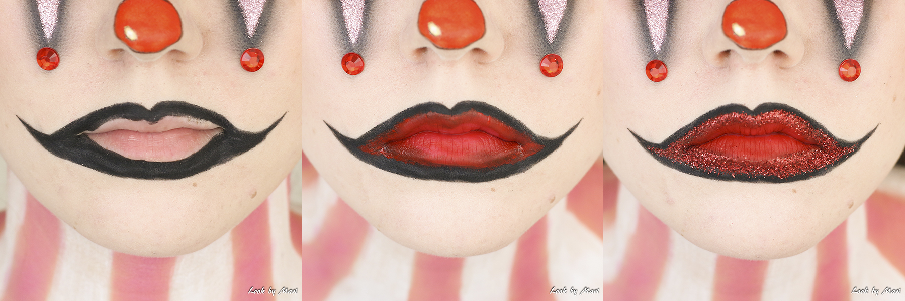 17 clown lips  tutorial glittery glitter ideas inspo inspiration red pink blog