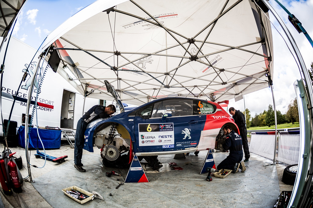 06 Suarez Jose Antonio and Carrera Candido, Peugeot Rally Academy, Peugeot 208 T16 ERC Junior U28 service parc ambiance during the 2017 European Rally Championship ERC Liepaja rally,  from october 6 to 8, at Liepaja, Lettonie - Photo Thomas Fenetre / DPPI