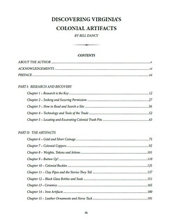 Virginia Artifacts book contents1