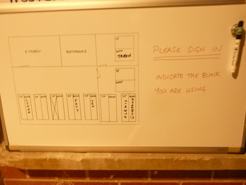 Map of bunk beds and occupants