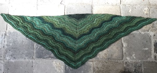 handspun handknitted green shawl