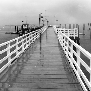Pier and Marina On A Stormy Sunday; Kings Point, New York