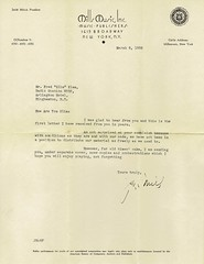 """1935 Letter to Fritz """"Slim"""" Klem from Jack Mills of Mills Music, Inc., Music Publishers"""