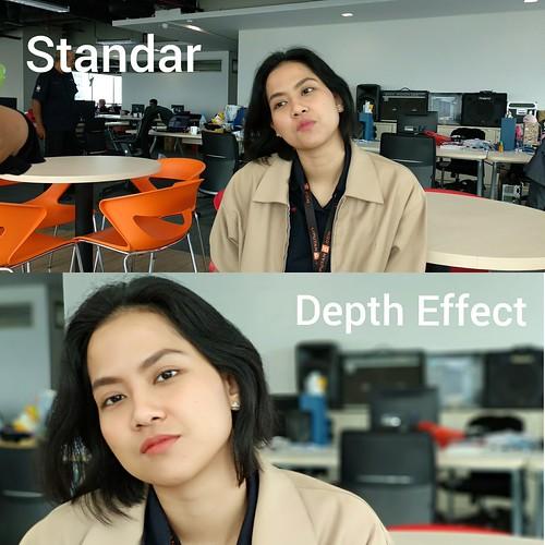 Hasil foto dengan modus Standar dan modus Depth Effect