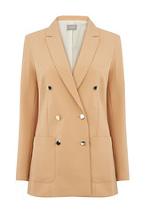 Oasis double-breasted camel longline blazer