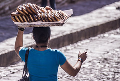 Traditional bread seller woman