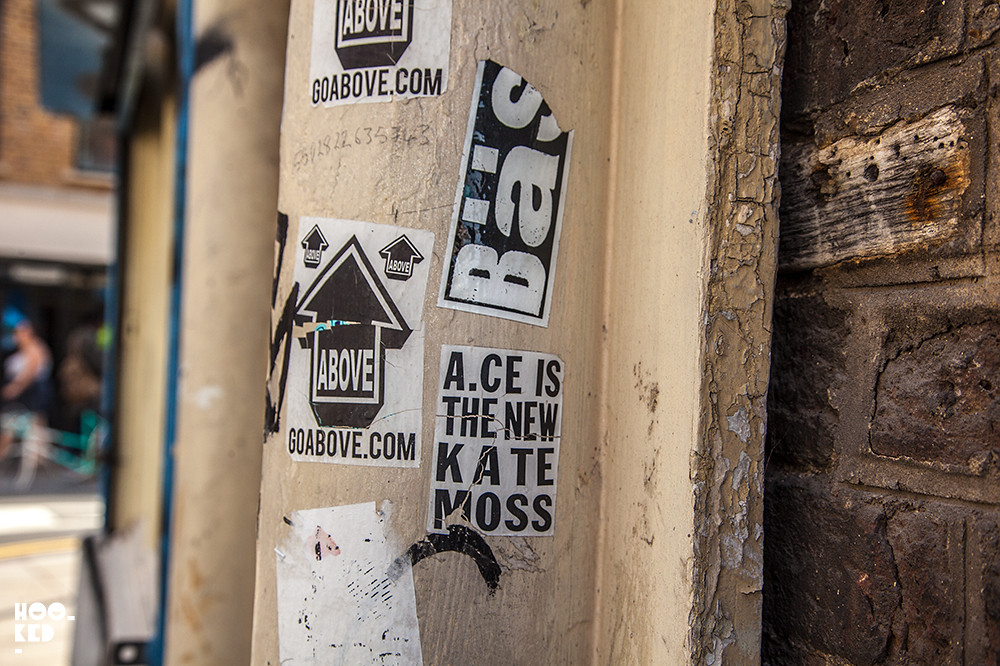 Street Art Stickers in Shoreditch with Above, ACE