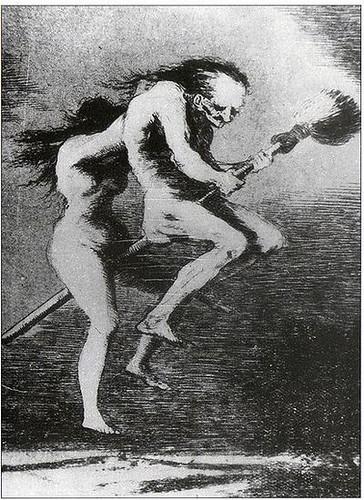 brujas frotándose con el palo de la escoba sus zonas genitales