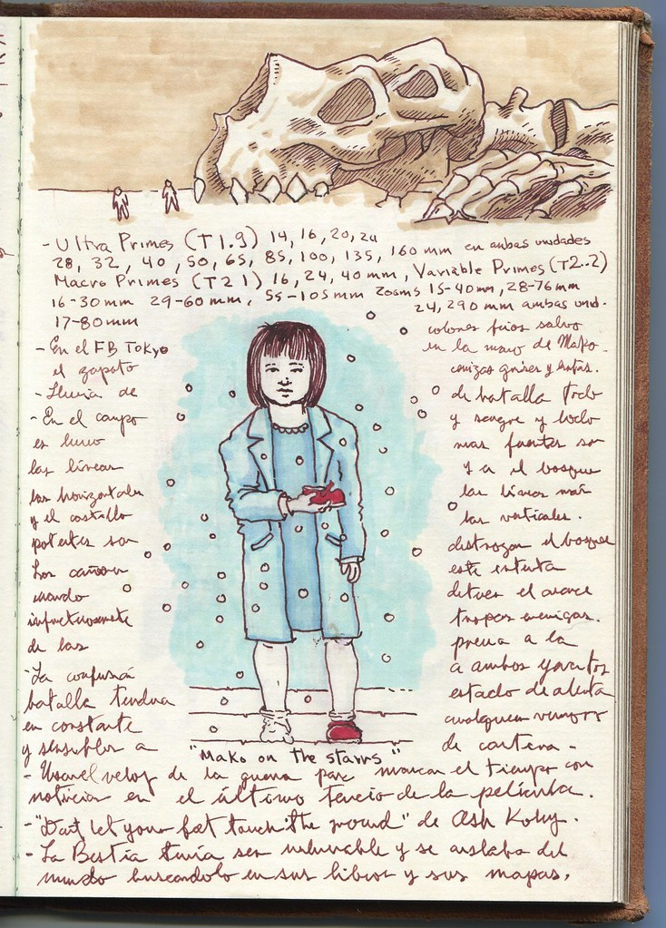 L: Guillermo del Toro Page from Notebook 5 Leather-bound notebook Ink on paper 8 x 10 x 1 1/2 in. Collection of Guillermo del Toro © Guillermo del Toro / Courtesy of Insight Editions. R: Mako Mori from Pacific Rim finds the red shoe that her child self is missing. Photo © Amy Bae.