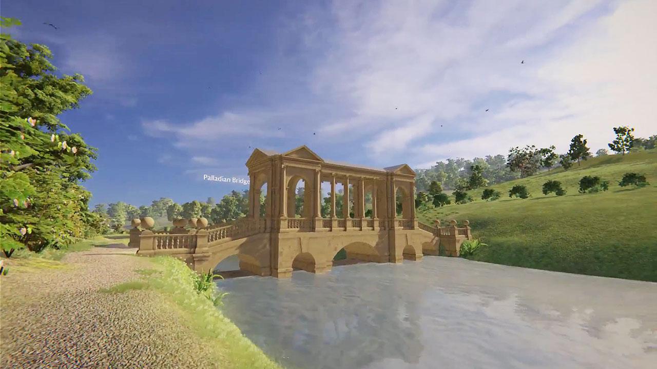 Computer generated picture of the Palladium Bridge in Prior park, Bath