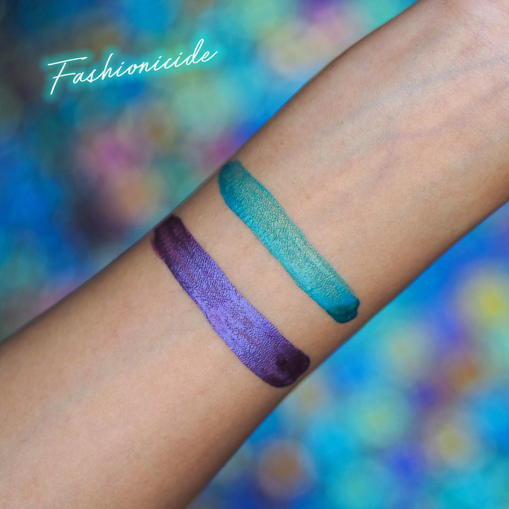 MUA Velvet Matte Metallic Green Purple Lip Lacquers Medusa Thanatos Swatch Swatches