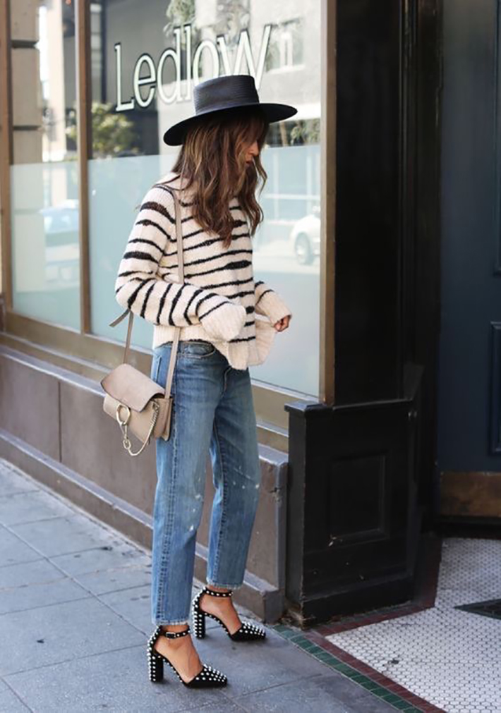 autumn outfits stripes plaid blazer street style trend style outfit 2017 accessories denim9