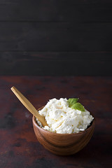 Fresh cottage cheese in a wooden bowl and spoon on