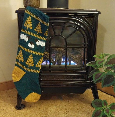 fo: Christmas Stocking Knit using Briggs and Little Heritage yarn and their Christmas Stocking pattern.