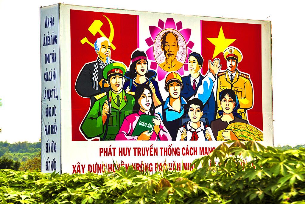 Propaganda billboard with Uncle Ho--Ea Kar