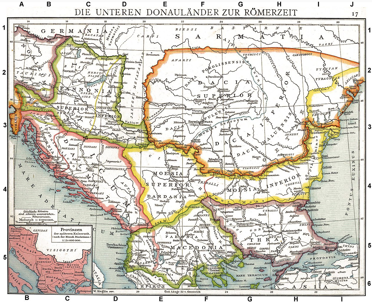 Roman provinces of Illyricum, Macedonia, Dacia, Moesia, Pannonia, and Thracia