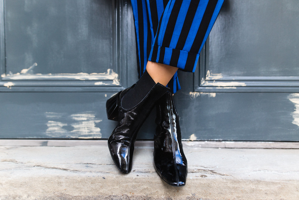 The Little Magpie Topshop Black and Blue Stripe Trousers
