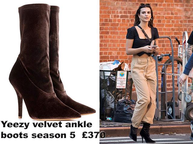 a2c236556feb4 Emily Ratajkowski in Yeezy season 5 velvet ankle boots - Alwand - UK ...