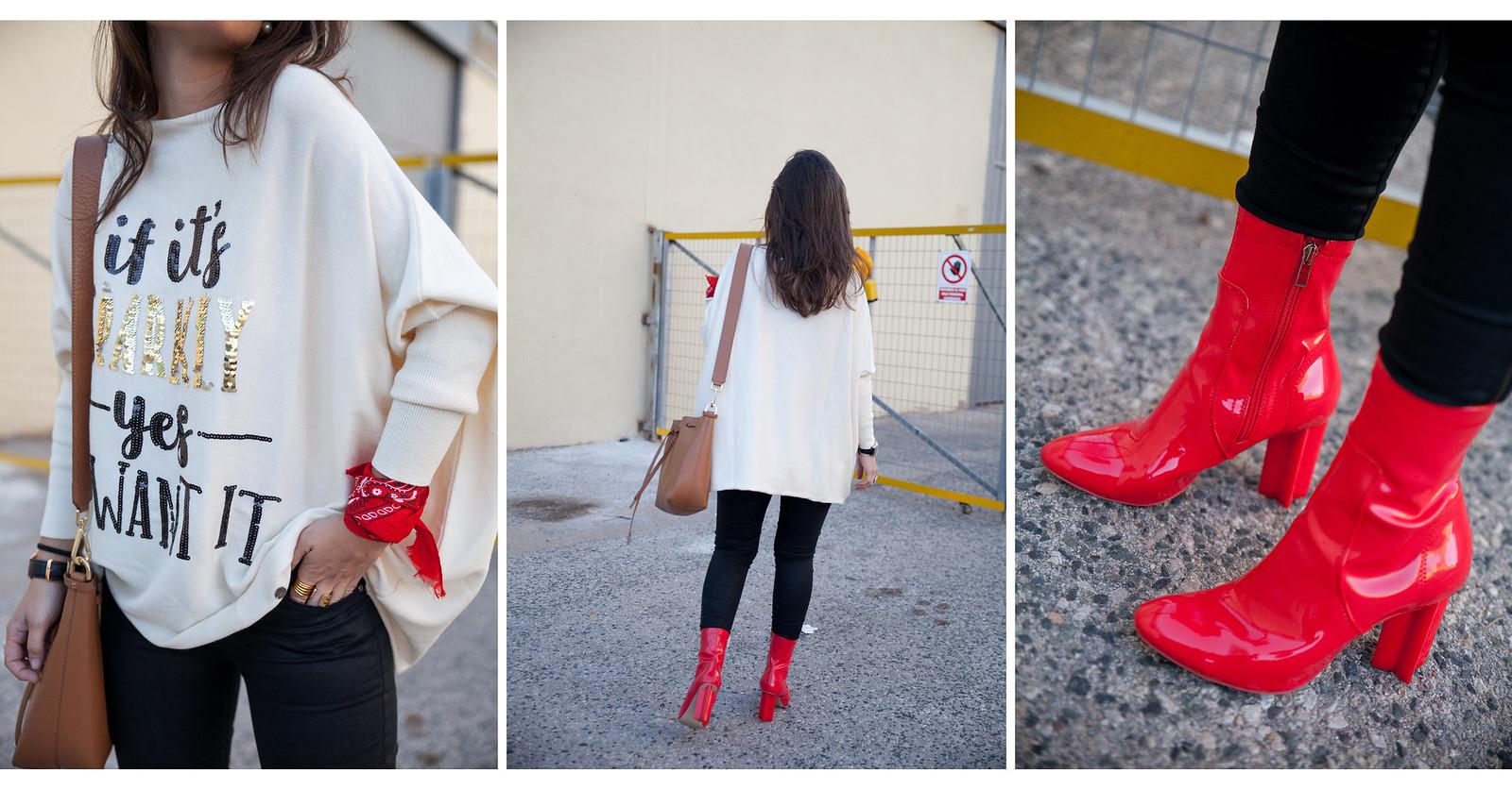 detalles inspiración look casual lentejuelas botas rojas charol