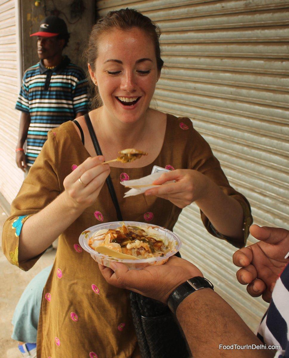 Tasting dahi bhalla chaat