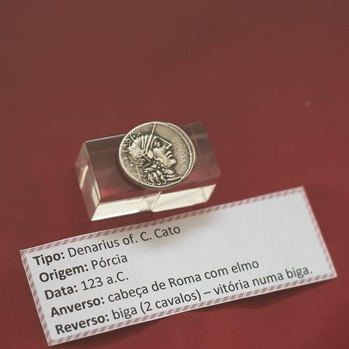 Roman silver denarius of C. Porcius Cato