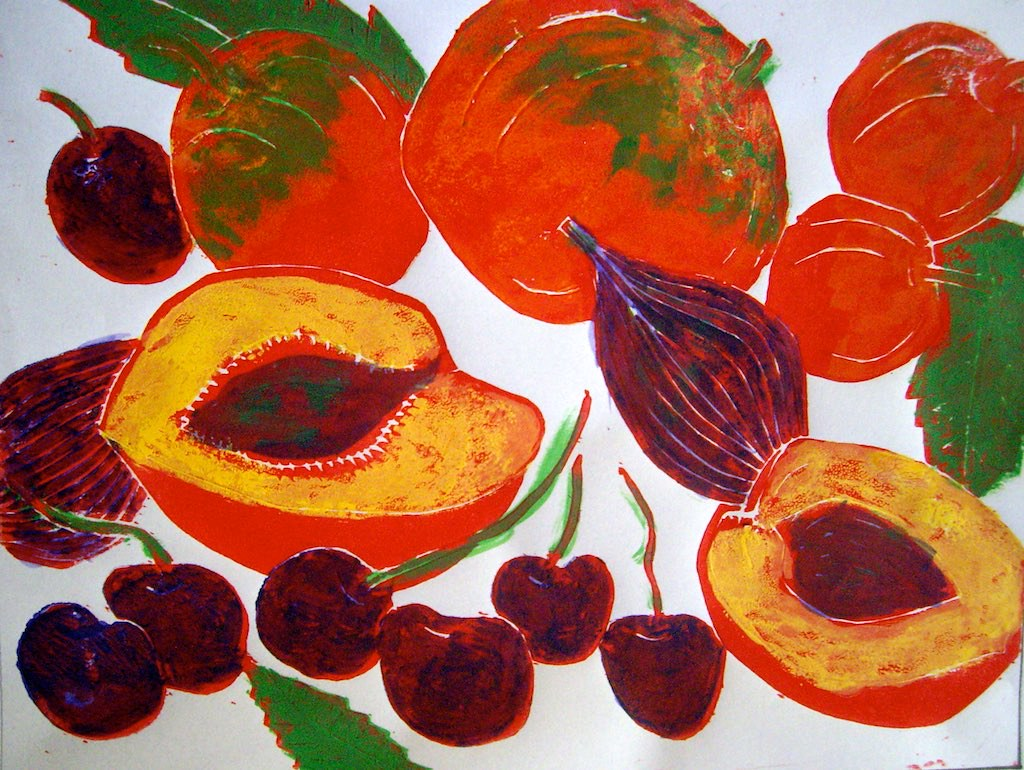 Linoprint of fruit