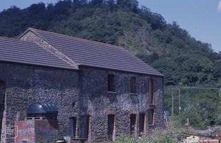 Gelynis Barn and revegetating Ty Nant Quarry. Taff Gorge. 1999