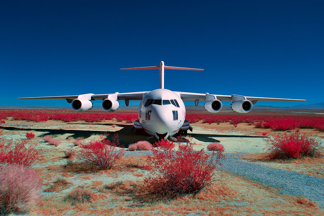 mcdonnell douglas YC-15 (digital color infrared). mojave desert, ca. 2017.