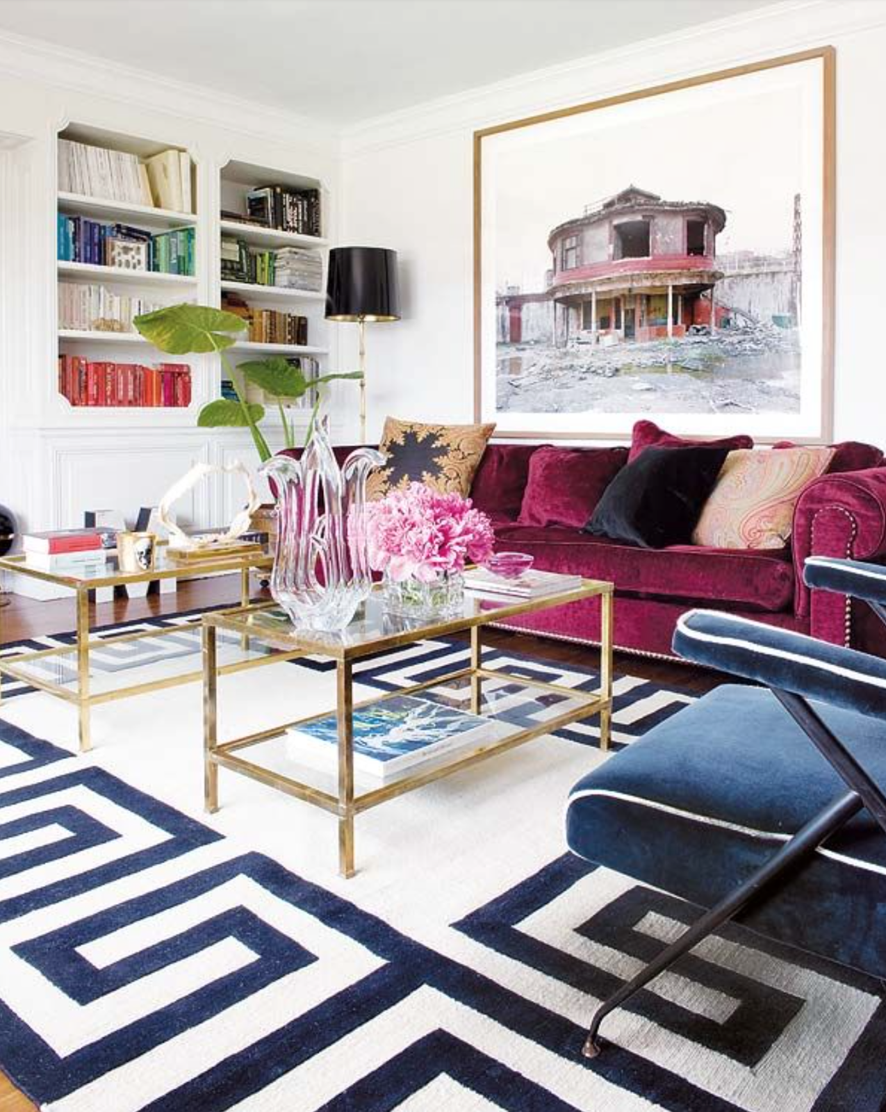 Magenta Velvet Couch Blue Chairs Living Room Gold Brass Coffee Table Blue White Carpet Jewel Tones Color