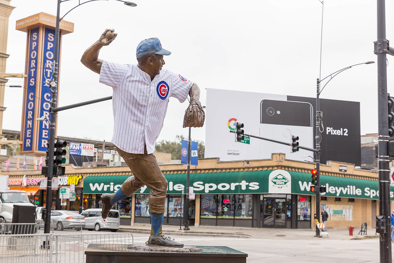 Ron Santo statue with shirt at Wrigley Field