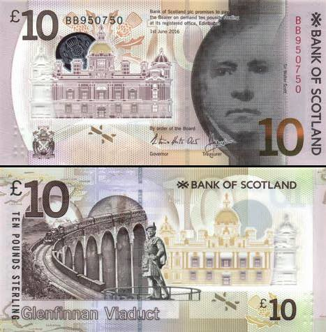 10 libier Škótsko 2016 Bank of Scotland, polymer P131