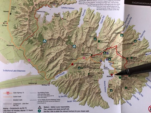 Map showing birdlings flat and Akaroa.