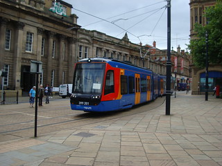 Class 399 'tram-train' unit on the Sheffield Supertram network outside the city's cathedral