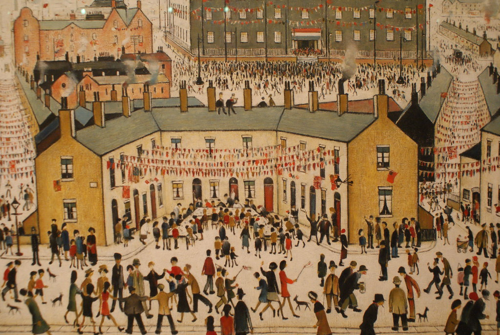 """VE Day"" (1945) de LS Lowry dans le Kelvingrode museum de Glasgow, quartier de West End."