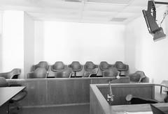 Jury Box, Henderson County Courthouse, Athens, Texas 1710131218bw