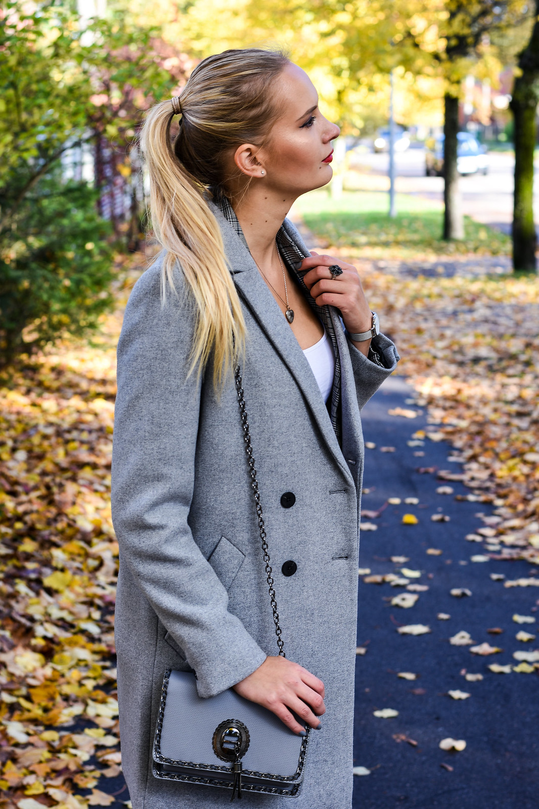 Zara grey double breasted coat