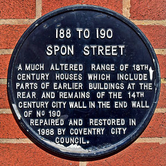 Photo of 188 to 190 Spon Street black plaque