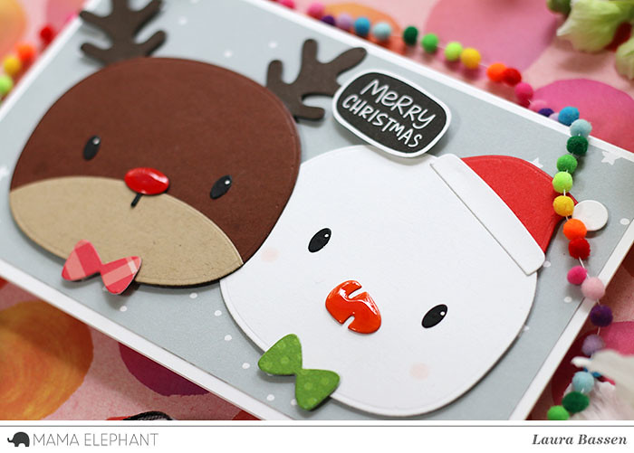 Mama Elephant-Favor Bag Accessories-Reindeer/Snowman & Puffy Holiday Greetings