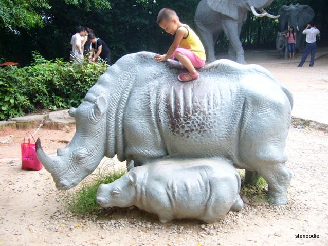 child on plastic rhino