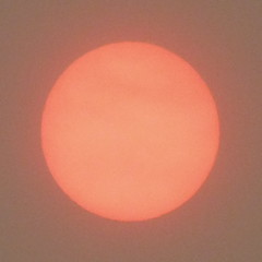 lurid sun colour affected by pollution from Spain & Portugal