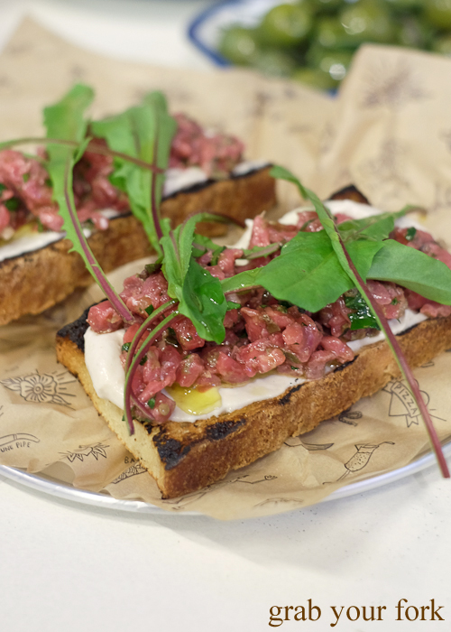 Bruschetta with raw veal at Mr Liquor's Dirty Italian Disco by Pinbone at the Tennyson Hotel Bottle Shop in Mascot