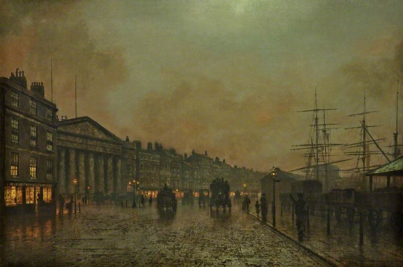 The Custom House, Liverpool, Looking South by John Atkinson Grimshaw , 1890