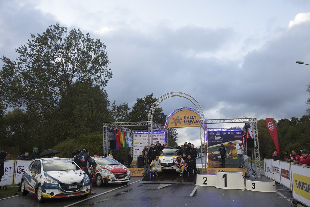 Ingram Chris and Whittock Ross, Opel Rallye Junior Team, Opel Adam R2 ERC Junior U27 ambiance portrait  Sesks Mārtiņs and Malnieks Andris, LMT Autosporta Akademija, Peugeot 208 R2 ERC Junior U27 ambiance portrait  Mares Filip and Hlousek Jan, ACCR Czech Team, Peugeot 208 R2 ERC Junior U27 ambiance portrait podium during the 2017 European Rally Championship ERC Liepaja rally,  from october 6 to 8, at Liepaja, Lettonie - Photo Gregory Lenormand / DPPI
