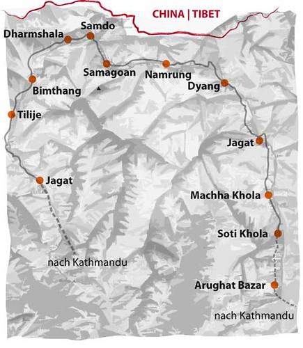 Karte Manaslu Trekking Tagesetappen
