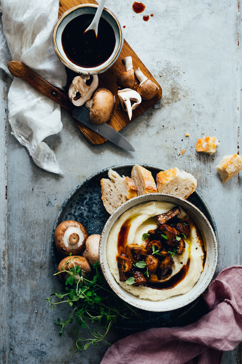 Root Celery Mash with Miso Mushrooms | Cashew Kitchen