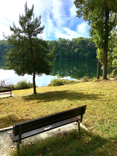 gaithersburg maryland senecacreekstatepark mdstateparks benches clopperlake lakes trees pines clouds reflections shadows hbm iphone