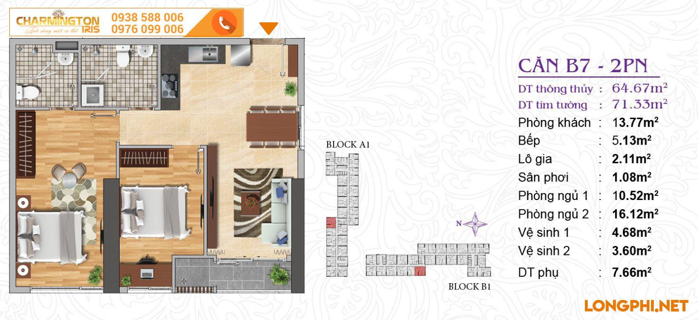 Căn hộ 2 phòng ngủ B7 dự án Charmington Iris Q4.