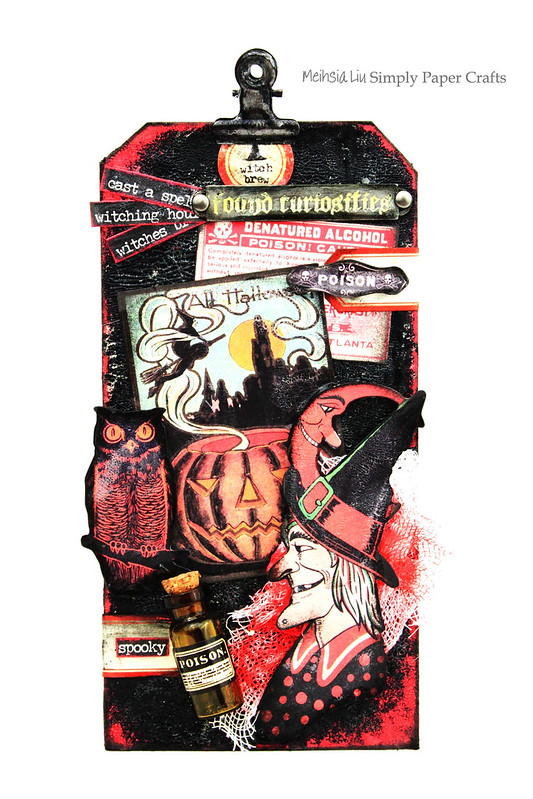 Meihsia Liu Simply Paper Crafts Mixed Media Halloween Dark Tag Tim Holtz Simon Says Stamp